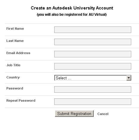 Autodesk University account creation