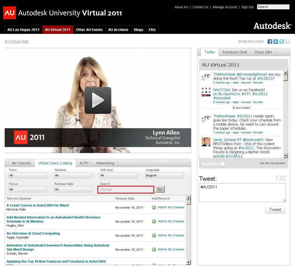 Autodesk University class Catalog